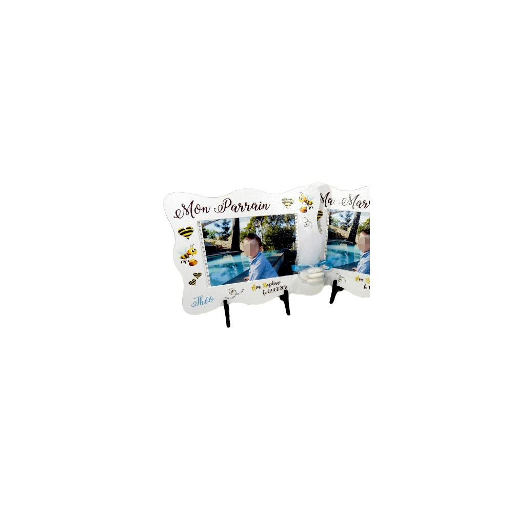 cadre photo bapt me gar on d co abeilles avec pr nom. Black Bedroom Furniture Sets. Home Design Ideas