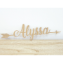 Prénom Alyssa en bois 40 cm avec flèches déco murale bébé