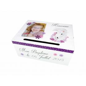 Tirelire de Baptême Cheval Blanc Rose et Violet
