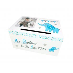 Urne de Baptême Thème éléphant Bleu et Blanc