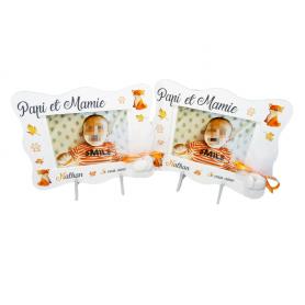 Cadre Photo cadeau Baptême Déco Renard Orange et Blanc