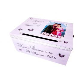 Urne de Mariage Papillons avec Cœurs Parme et Argent